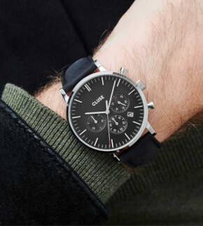 Hodinky Cluse Aravis Chrono Leather Black, Silver Colour