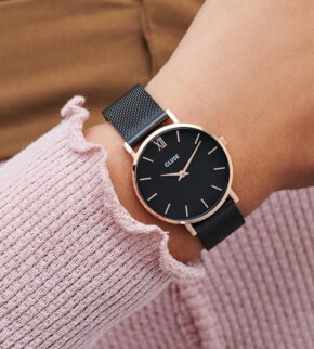 Hodinky Cluse Minuit Mesh Black, Rose Gold Colour