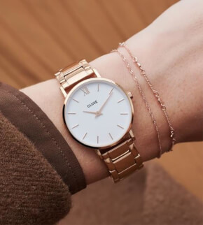 Hodinky Cluse Minuit Steel White, Rose Gold Colour