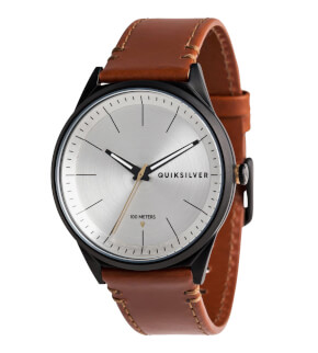 Hodinky Quiksilver Bienville Leather Black Silver Brown XKSC