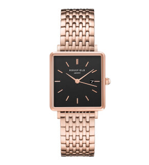 Hodinky Rosefield The Boxy Black Steel Rosegold