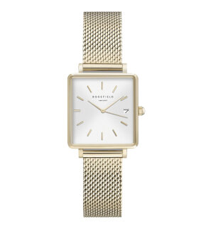 Hodinky Rosefield The Boxy XS White Sunray Mesh Gold