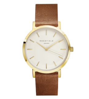 Hodinky Rosefield The Gramercy Gold White/Brown