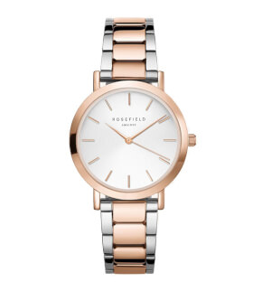 Hodinky Rosefield The Tribeca White Sunray Steel Silver Rose Gold Duo