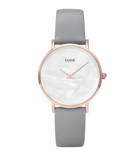 Hodinky Cluse Minuit La Perle Rose Gold White Pearl/Stone Grey