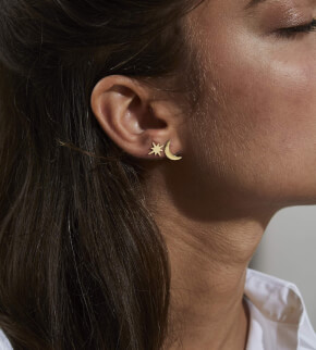 Šperky Rosefield náušnice Lois Star And Moon Stud Earring Gold