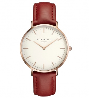Hodinky Rosefield The Bowery Rosegold White/Red