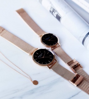 Hodinky Rosefield The Tribeca Rose Gold Black