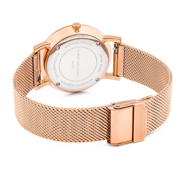 Premiere Rose Gold Structure White Mesh Rose Gold