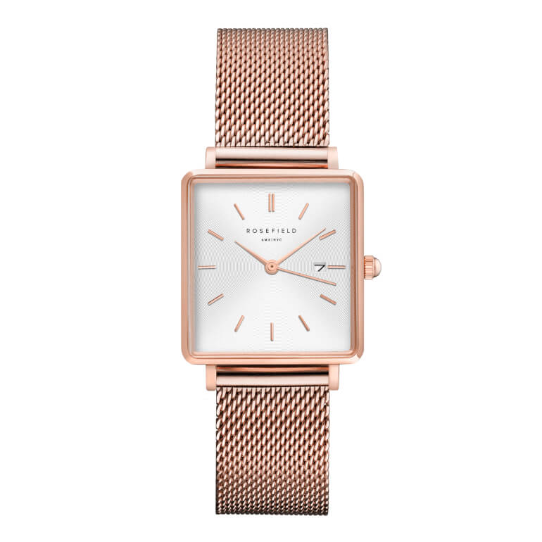 The Boxy White Sunray Mesh Rosegold