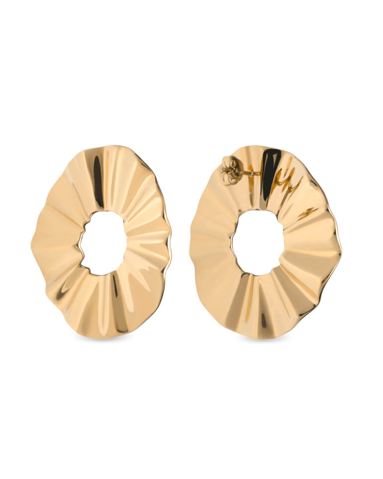 náušnice Lois Liquid Waved Coin Earring Gold
