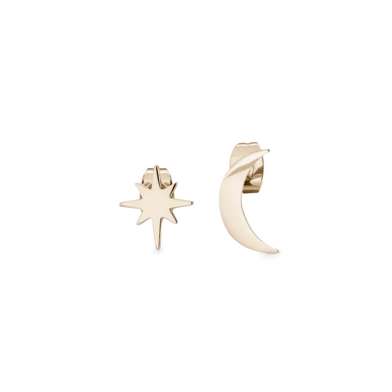 náušnice Lois Star And Moon Stud Earring Gold